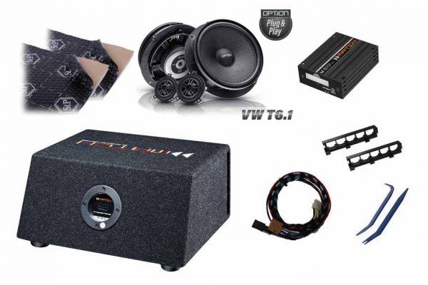 VW T6.1 Soundupgrade-Set mit DSP-Verstärker, Dämmung, Lautsprecher und Subwoofer