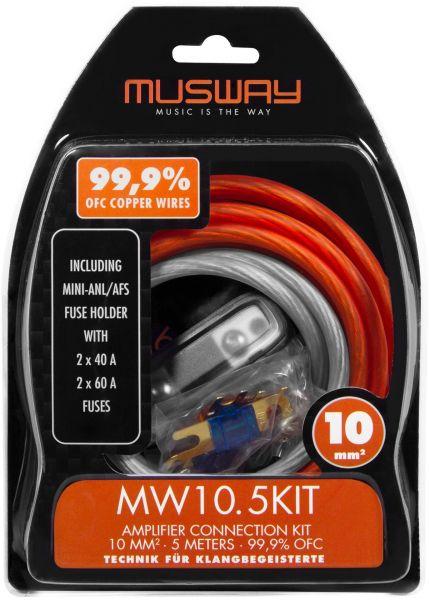 Musway MW10.5KIT 10 MM2 VERSTÄRKER-ANSCHLUSS-SET, 5 METER VOLLKUPFER (99,9% OFC)