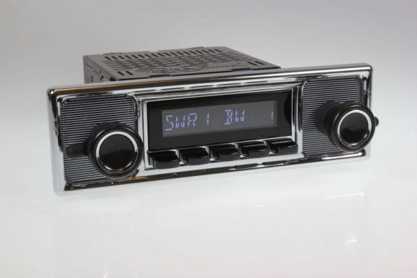 Autoradio im Nadelstreifen-Design für Mercedes Benz mit DAB+, USB und Bluetooth Retrosound San Diego