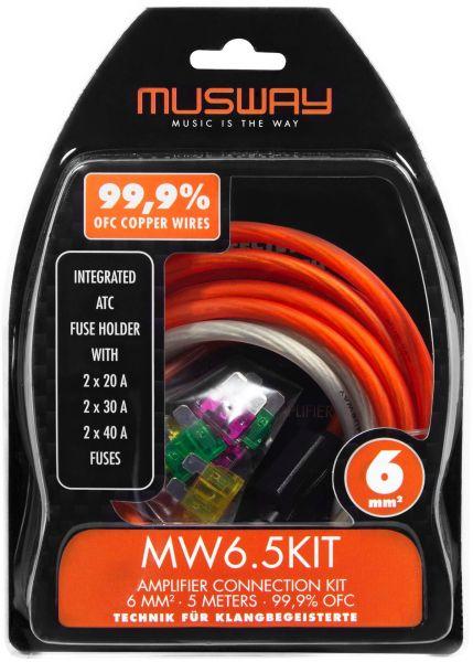 Musway MW6.5KIT 6 MM2 VERSTÄRKER-ANSCHLUSS-SET, 5 METER VOLLKUPFER (99,9% OFC)-
